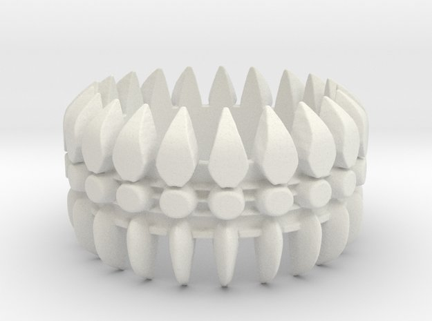 Spine Ring #1, Ring Size 9 in White Natural Versatile Plastic