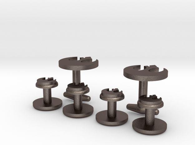 Rebel-Alliance Cufflinks & Studs in Polished Bronzed Silver Steel