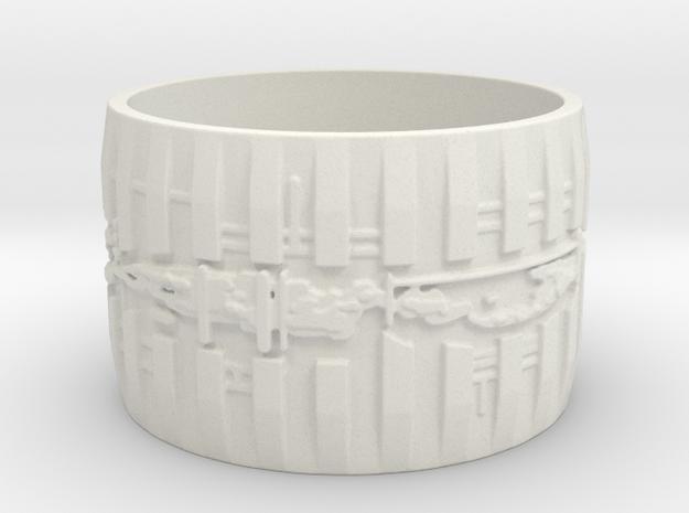 Bio Mech Ring #1, Ring Size 12 in White Natural Versatile Plastic