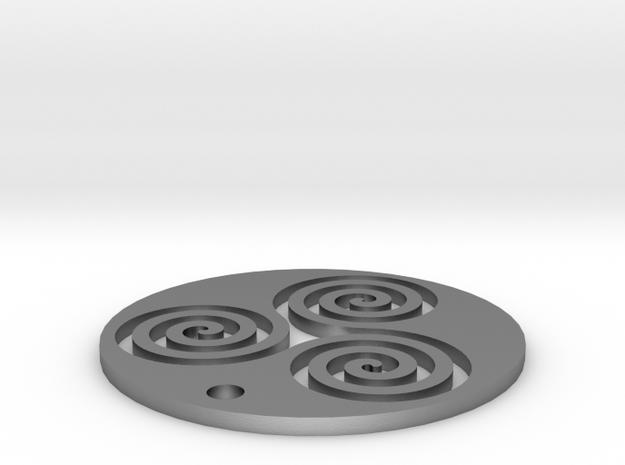 "Triskele (1.25"" diameter) in Natural Silver"