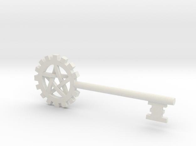 Pentacle Gear Key in White Natural Versatile Plastic