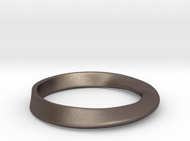 Möbius Ring in Polished Bronzed Silver Steel