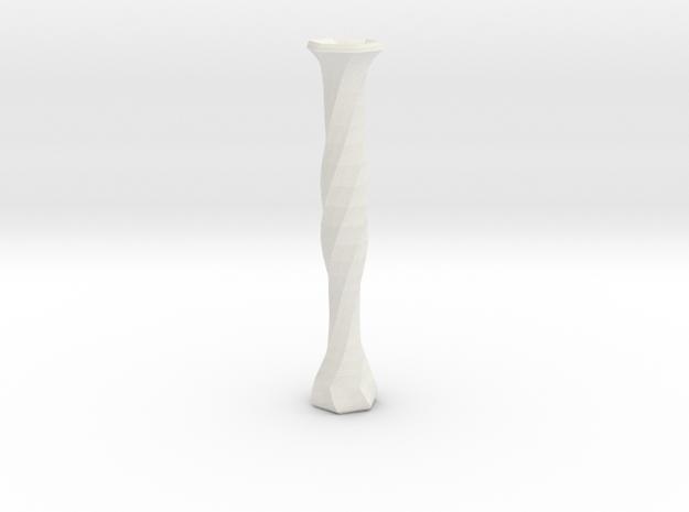 twisted flower tube vase in White Natural Versatile Plastic