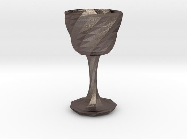 goblet long stem 3 in Polished Bronzed Silver Steel