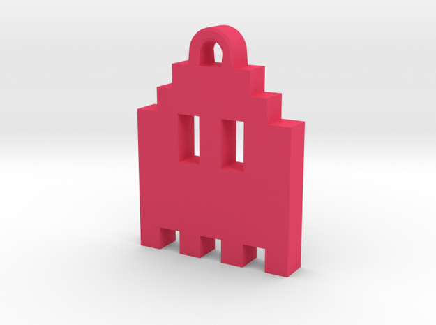 Pac Man Ghost 8-bit Earring 1 (looks up   moving) in Pink Processed Versatile Plastic