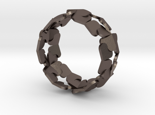 Heart/Clover Ring by Andreas Fornemark in Polished Bronzed Silver Steel
