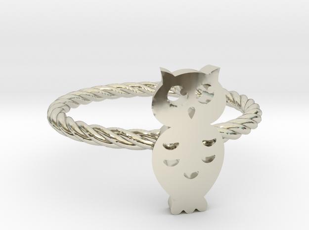 """Owl """"Hoot Hoot"""" Midi Ring in 14k White Gold"""