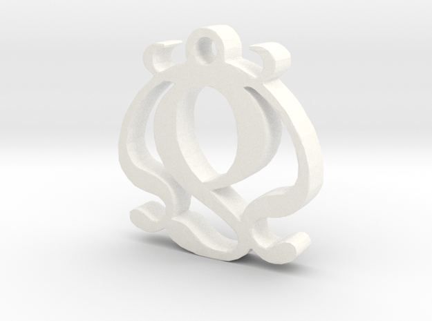 Two Necklace Pendant  in White Processed Versatile Plastic