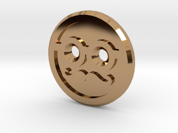Mr Moustache Shirt Button in Polished Brass