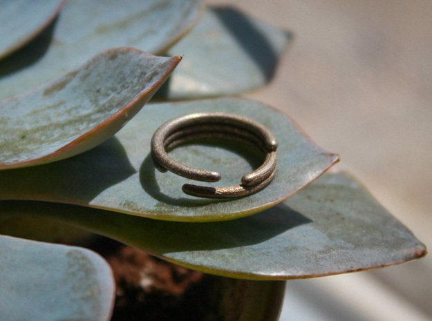 Stagger Ring - Size 6.5 in Polished Bronzed Silver Steel