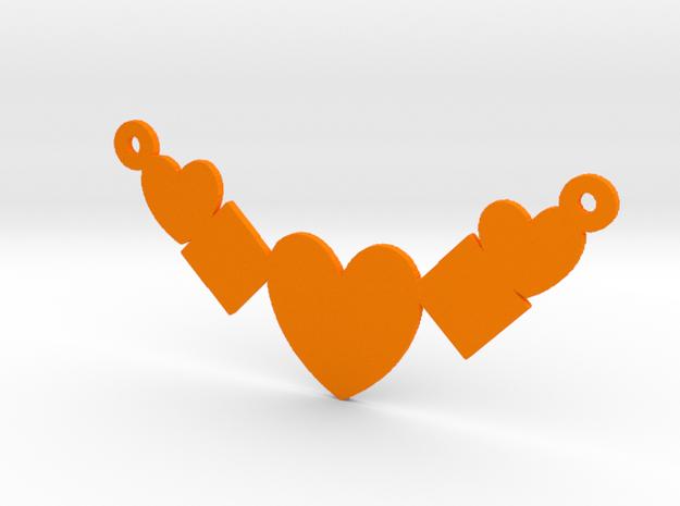 Heart Shaped Necklace  in Orange Processed Versatile Plastic