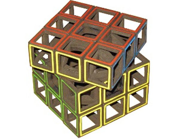 Hollow Cube in White Natural Versatile Plastic