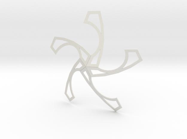 Star Pentagonal Spiral 12 shapes Hexecontahedron in White Natural Versatile Plastic