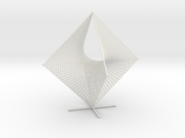 Tetrahemihexahedron Curve Stitching Double in White Natural Versatile Plastic