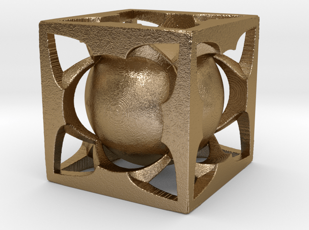Sphere Cube Hollow SE4 in Polished Gold Steel