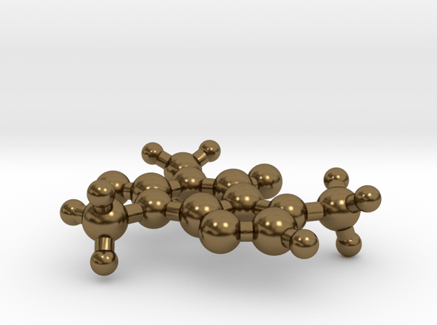Caffeine Molecule in Polished Bronze