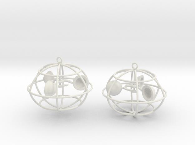 The anemometer earrings in White Natural Versatile Plastic