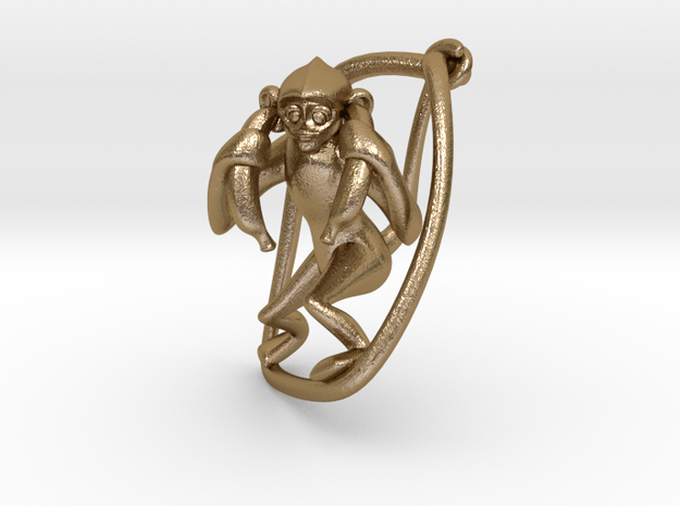 Hear No Evil. No,3 in Polished Gold Steel