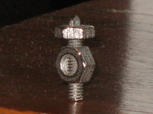 Nut 'N' Bolt Pendant in Polished Bronzed Silver Steel