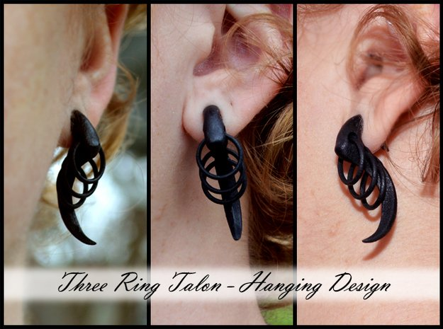 Three Ring Talon Earrings (select a size) in Black Natural Versatile Plastic