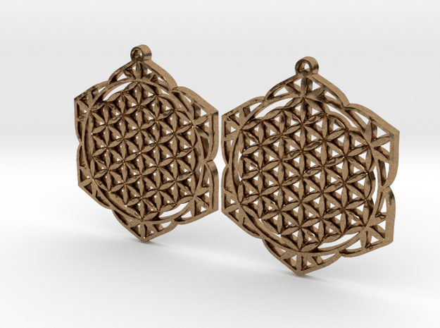 36x2mm Lotus of Life Ear Rings in Natural Brass