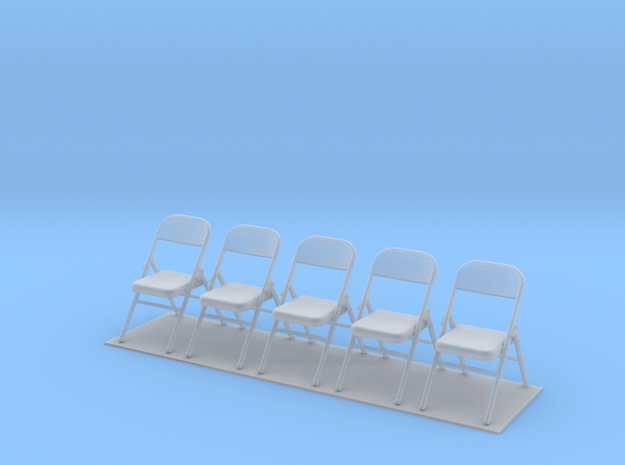 Metal Folding Chair 1/35 scale UNFOLDED set of fiv in Smooth Fine Detail Plastic