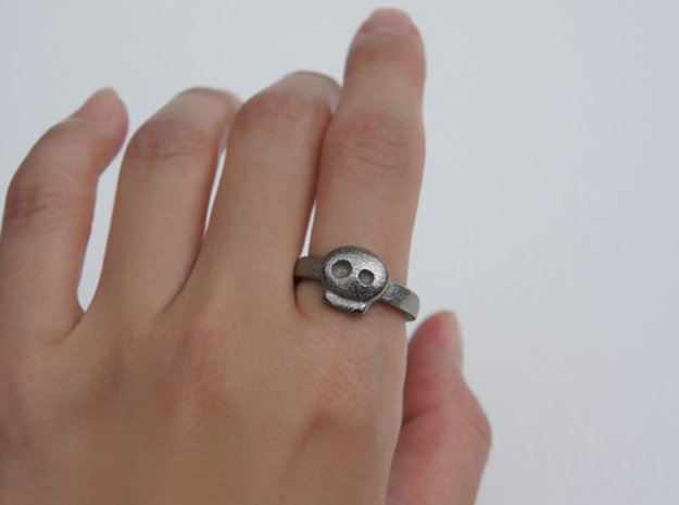 Simply Skull Ring - Size 8 in Polished Bronzed Silver Steel