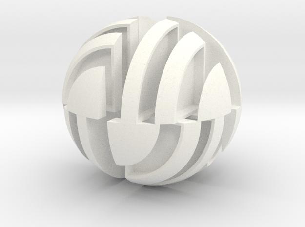 Sphere Version Of Simple Cube Positive 4 Piece in White Processed Versatile Plastic