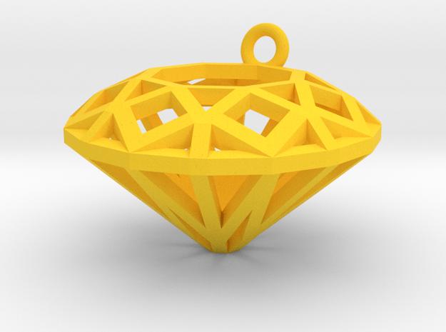 Diamond Charm  in Yellow Processed Versatile Plastic