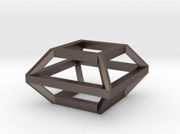 Cube charm in Polished Bronzed Silver Steel