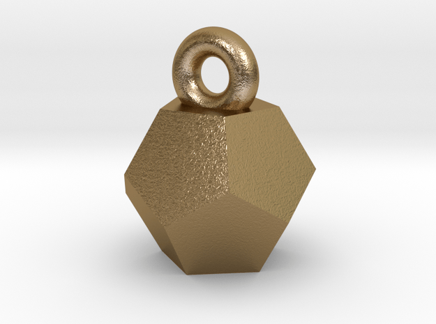 Solid Dodecahedron charm in Polished Gold Steel