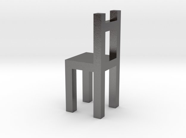 Chair Charm in Polished Nickel Steel
