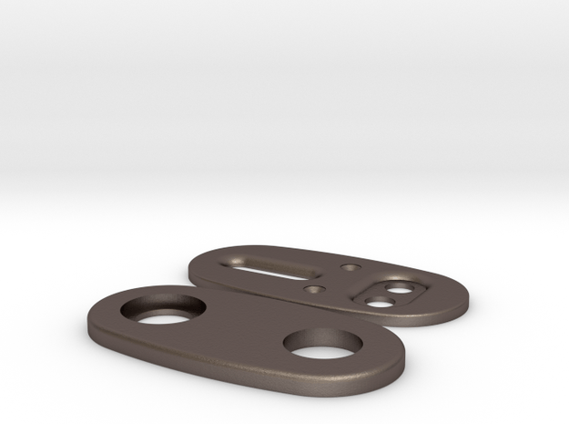 Metal Caps For Wood - Plate Version V3.1 in Polished Bronzed Silver Steel