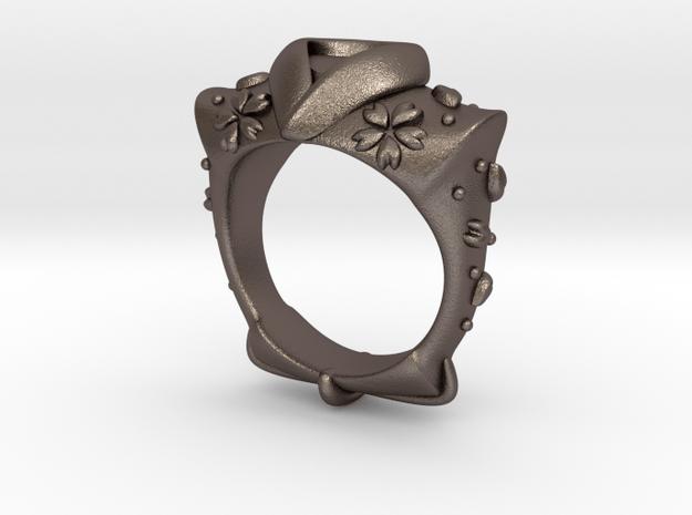 KIMONO(sakura snowstorm) RING in Polished Bronzed Silver Steel