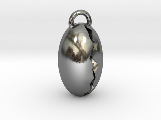 Cracked Pendant in Polished Silver