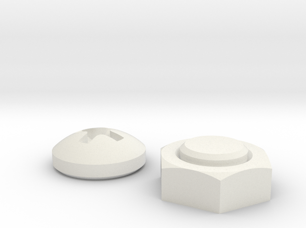 Nut & Screw shaped magnets (set of 2) in White Natural Versatile Plastic