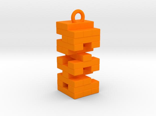 Jenga Necklace in Orange Processed Versatile Plastic