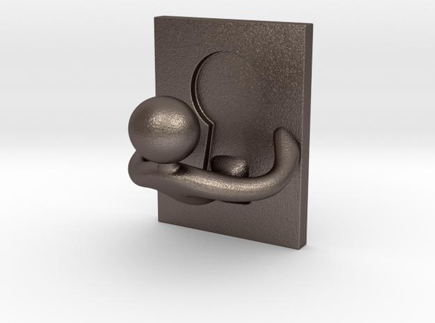 Stickman keyhole hanger in Polished Bronzed Silver Steel