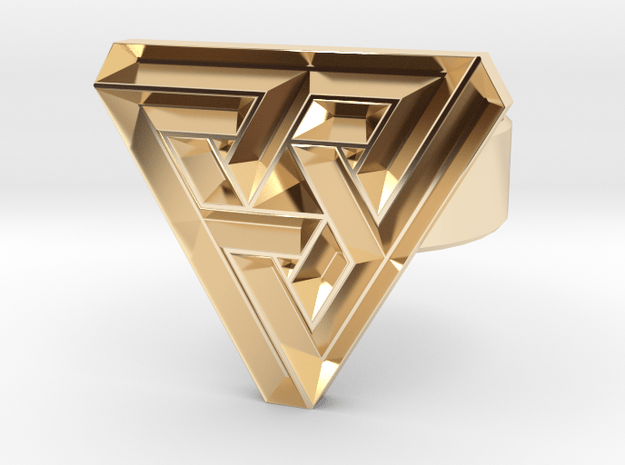 100321 triangle angle ring in 14K Yellow Gold
