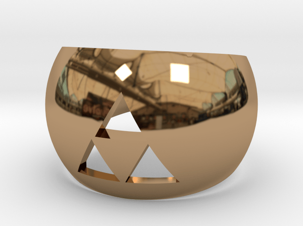 Triforce Cut Out Ring II size 7 in Polished Brass