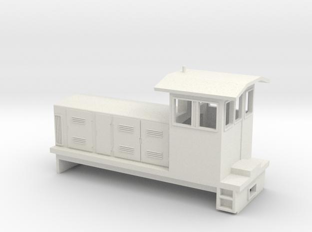 """HOn30 Endcab Locomotive (""""Eva"""") one p in White Natural Versatile Plastic"""