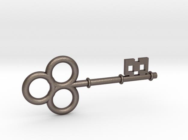 Large Skeleton Key in Polished Bronzed Silver Steel
