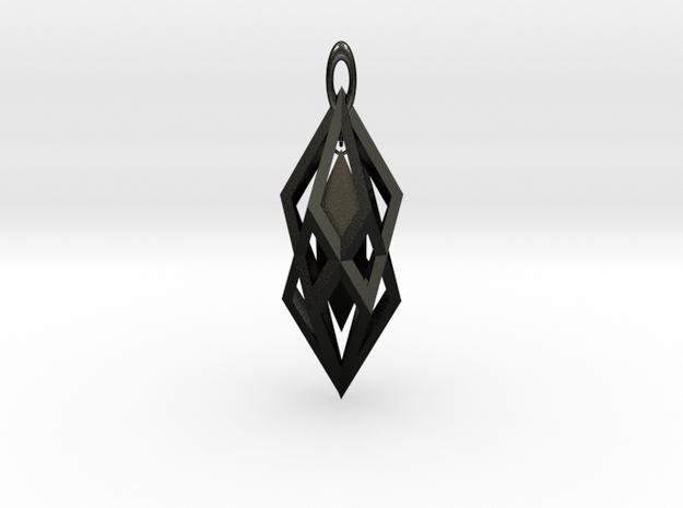 Hanging Crystal Pendent in Matte Black Steel
