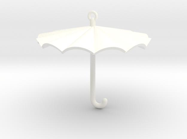 Umbrella Charm in White Processed Versatile Plastic