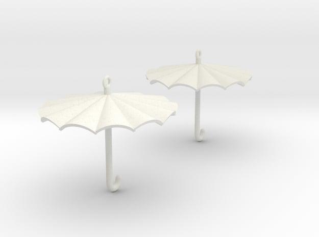 Umbrella Earrings in White Natural Versatile Plastic