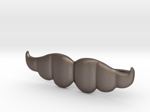 """Brazilian"" Moustache Tie Bar (Metals) in Polished Bronzed Silver Steel"