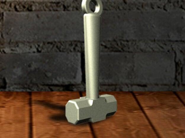 Mini Sledge Hammer Pendant in Polished Bronzed Silver Steel