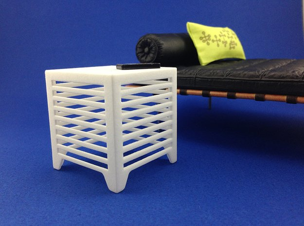 Slice End Table 1:12 scale in White Processed Versatile Plastic