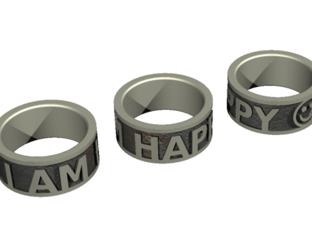 Happy Ring - US Size 7 in Polished Bronzed Silver Steel