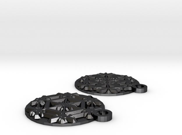 Snowflake Earrings (Plate) in Polished and Bronzed Black Steel